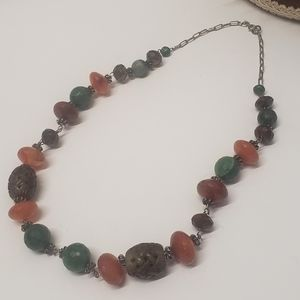 Vintage Sterling Silver India beaded Necklace